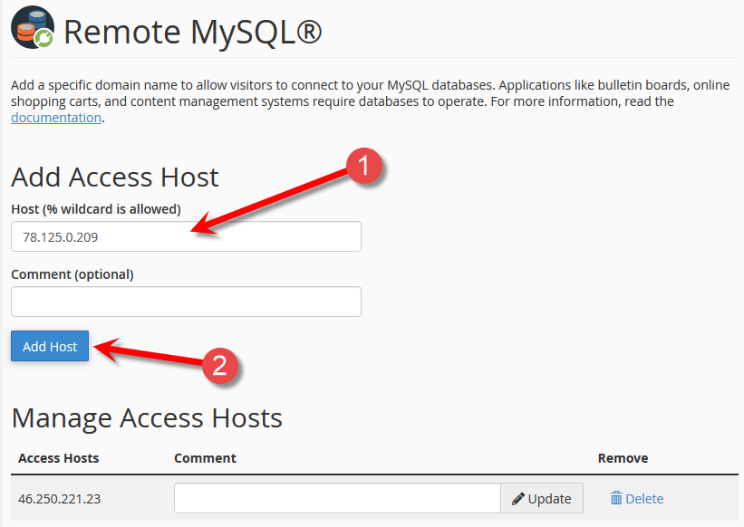 Add an IP that can connect to the MySQL remotely.