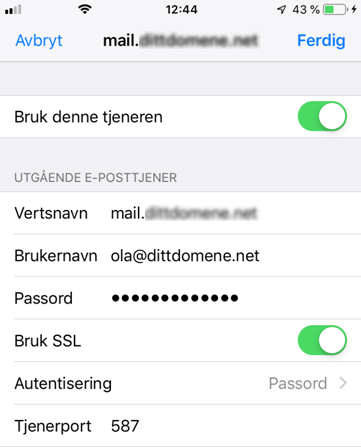 SMTP oppsett iPad/iPhone