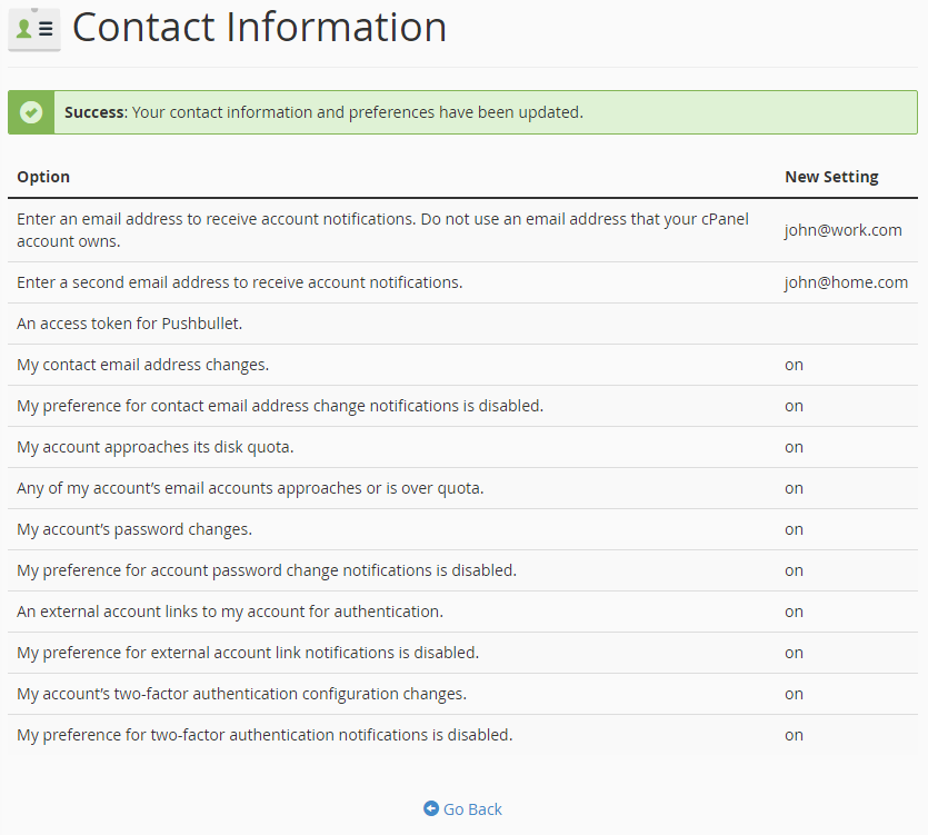 Add contact information in cPanel - PRO ISP