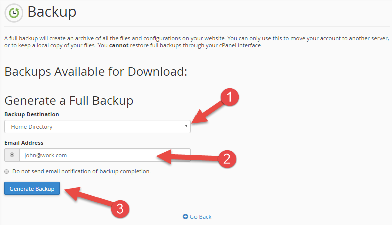 Choose where the backup should be stored or sent