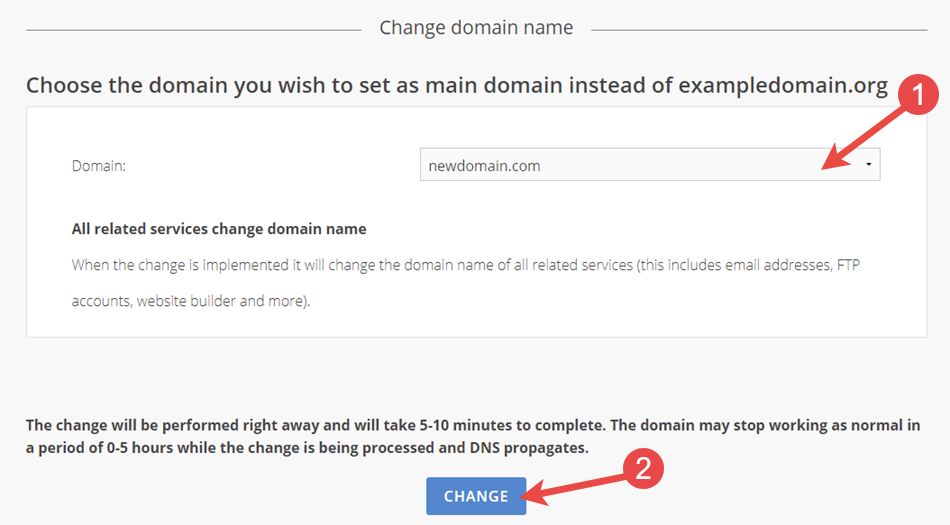 Change main domain to another domain name