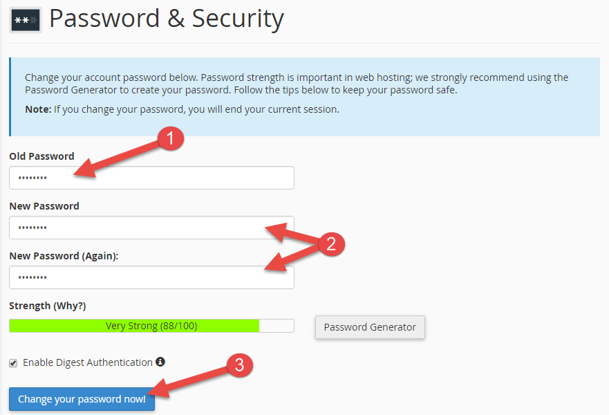 Type old and new password in password page