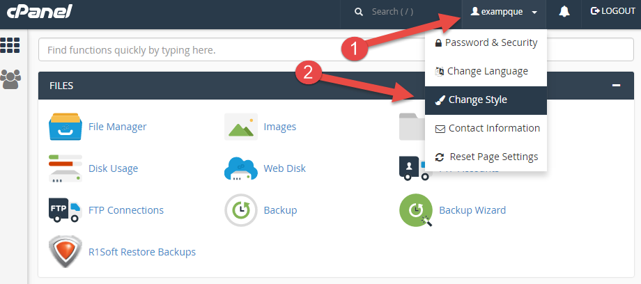 Change style (layout) in cPanel