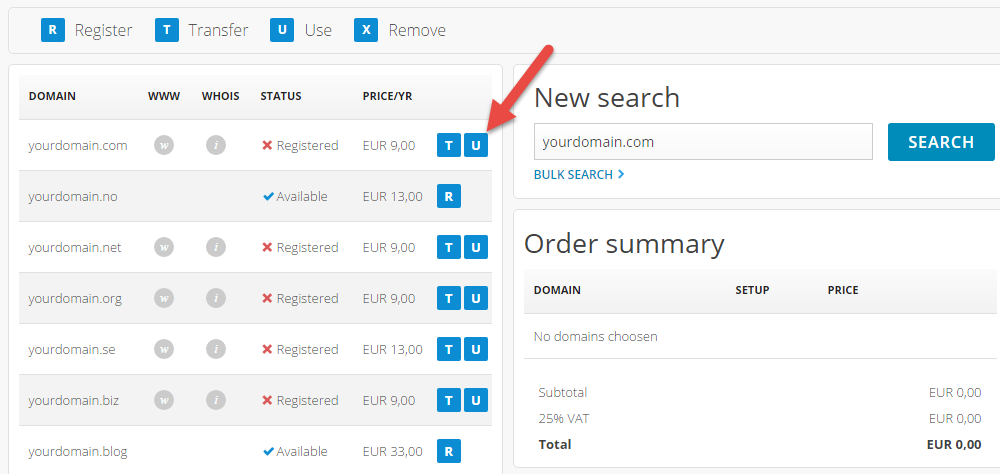 Domain search during order pages