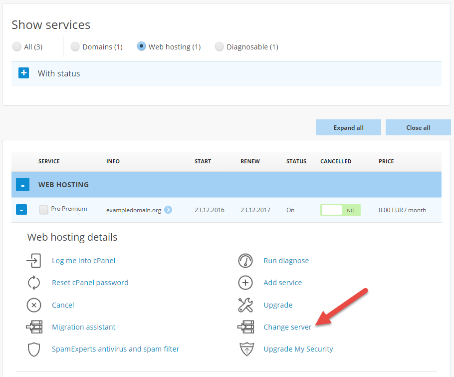 Find Change server in the menu below the web hosting package