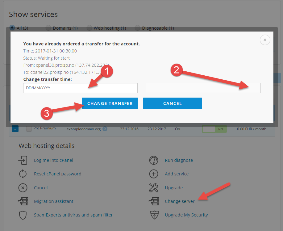 Change transfer time for web hosting account to a new server