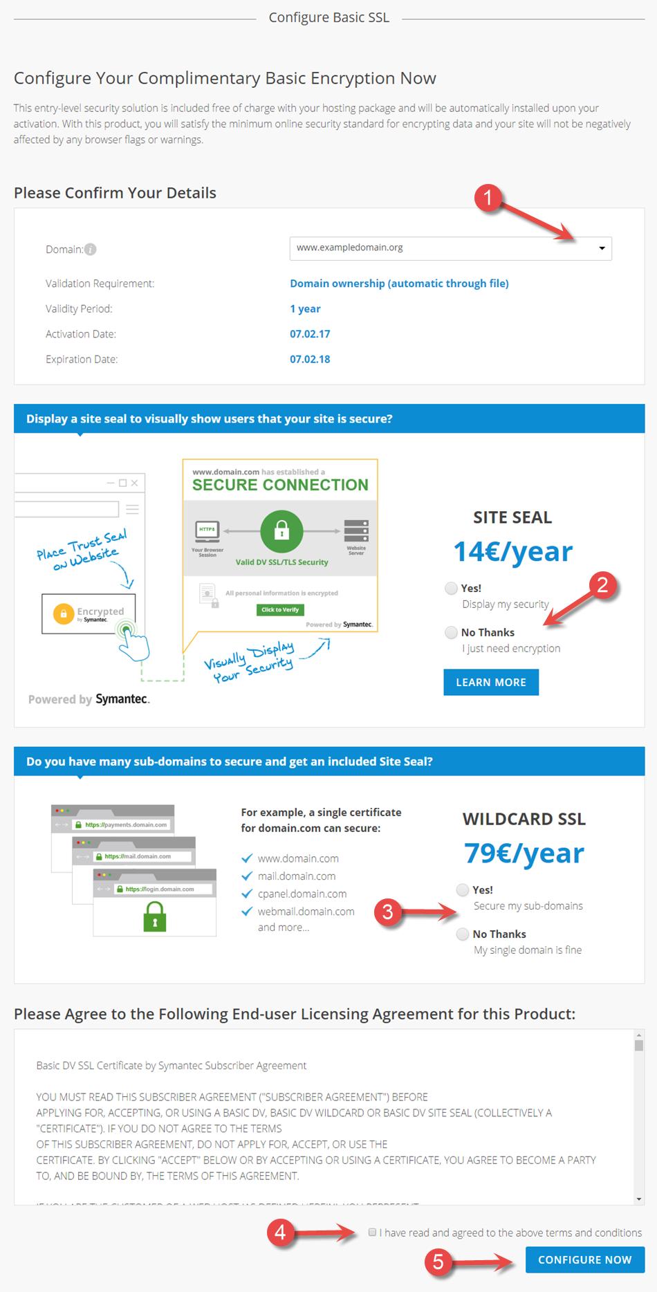 Konfigurasjon av Basis SSL via kundesidene