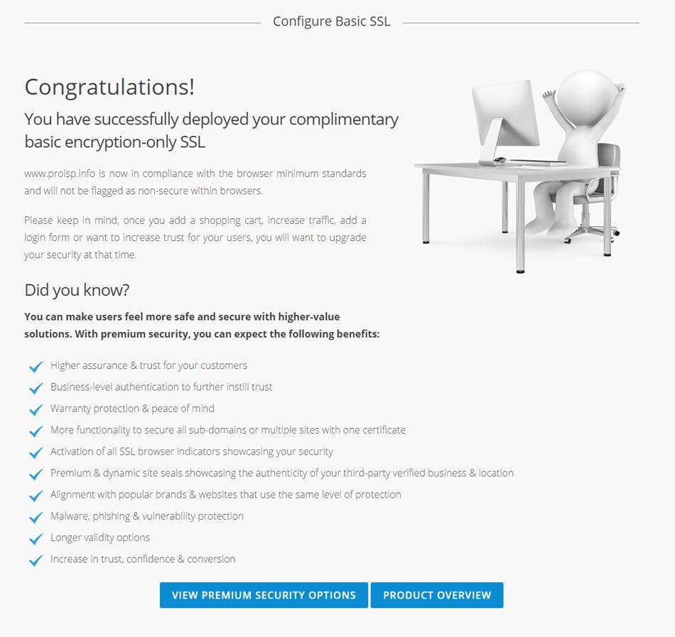 Fullført konfigurering av Basis SSL