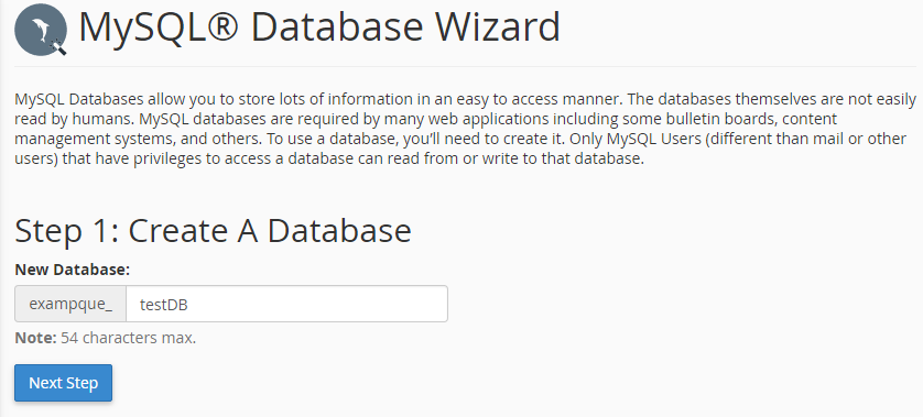 Type the name of database