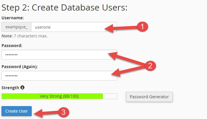 Create database user in cPanel