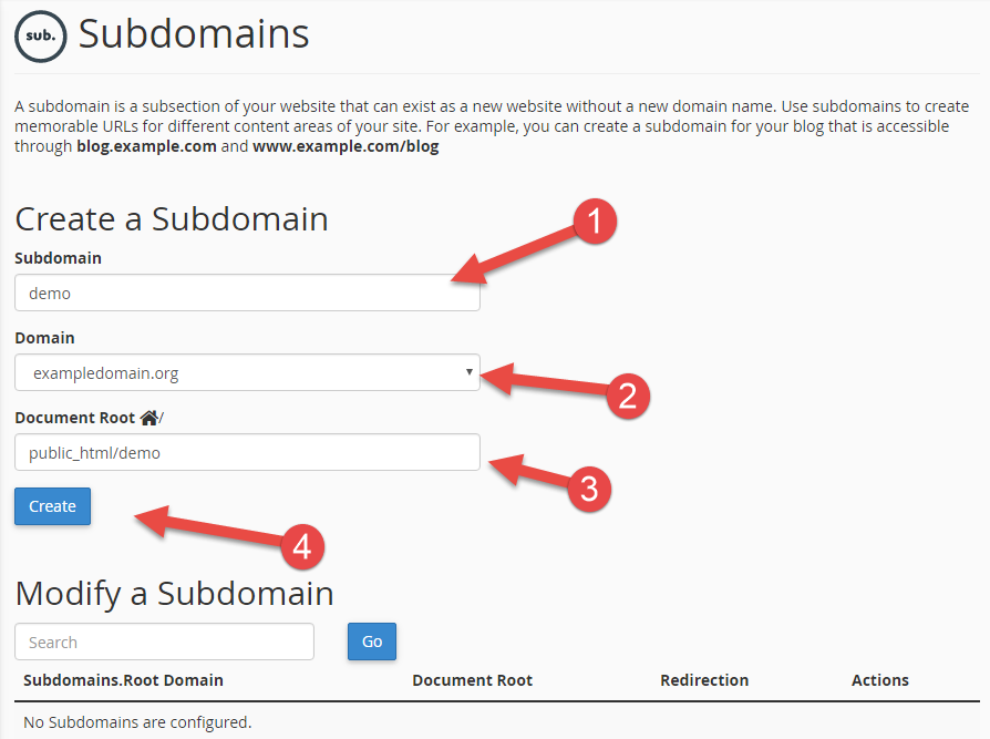 Choose which folder the subdomain will use