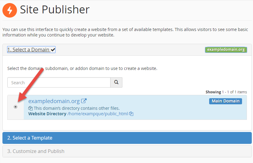 Choose domain in Site Publisher
