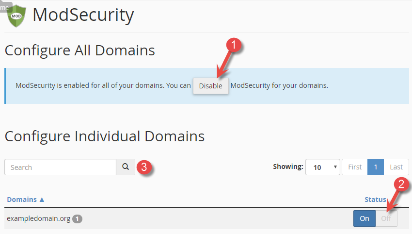 Deactivate/disable mod_security for domains in cPanel