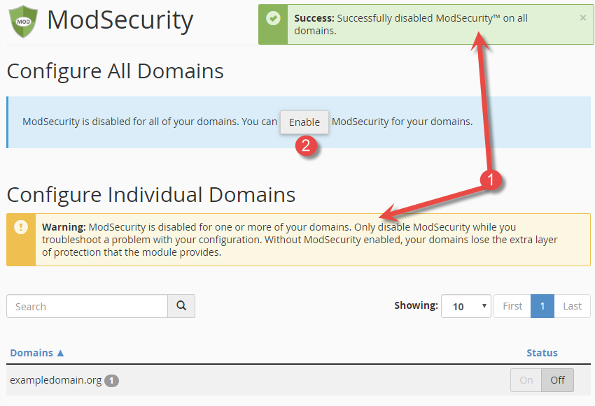 Activate/enable mod_sec for domains in cPanel