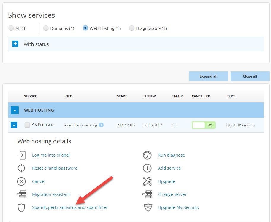 Choose SpamExperts spam filter in the menu
