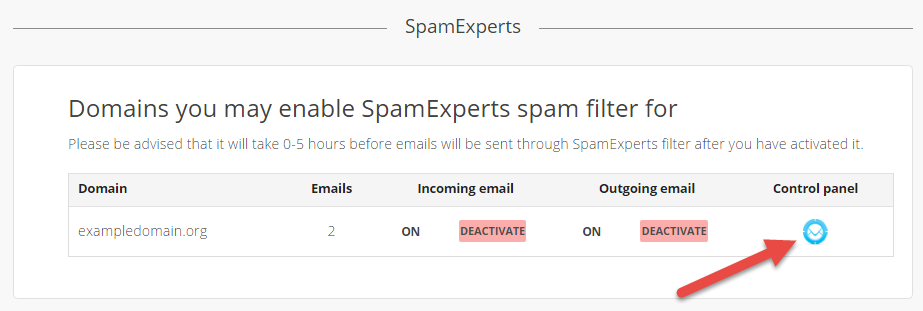 Icon to go to SpamExperts control panel