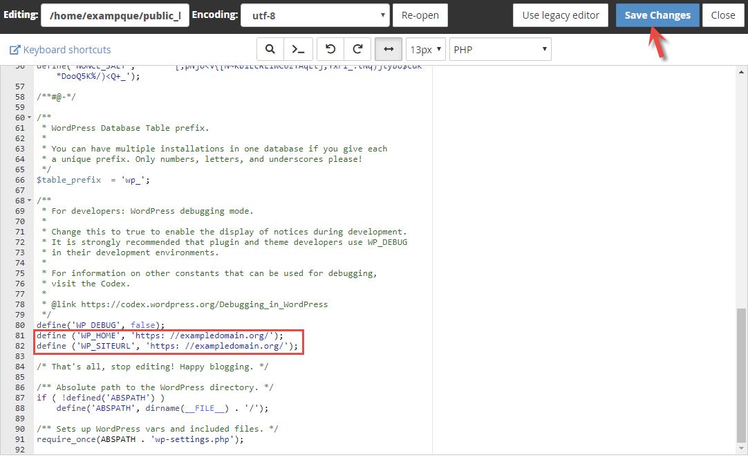 File Mananger in cPanel where you change URL for WordPress
