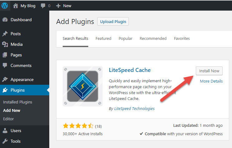 Install page for Litespeed's cache plugin to Wordpress