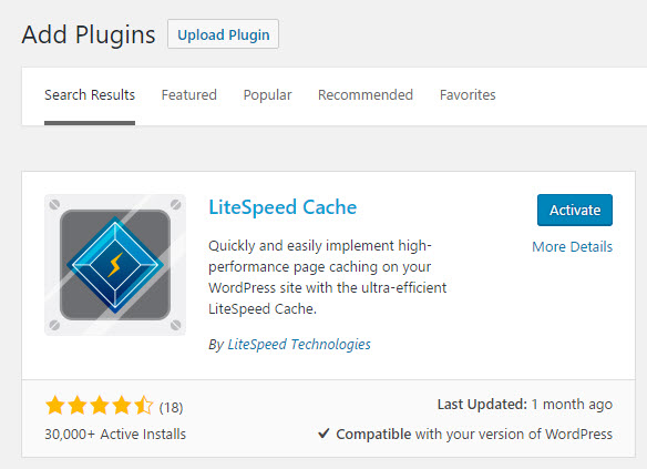 Activate LiteSpeed's cache plugin