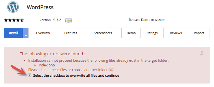 Warning about index.php file in Softaculous