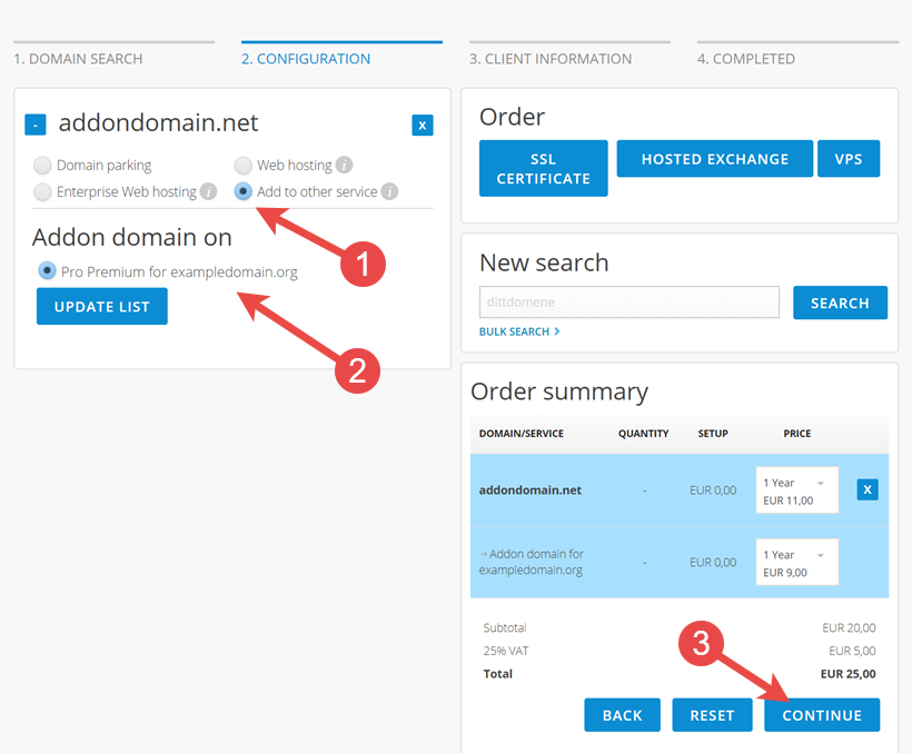 Choose desired subdomain where the addon domain should be placed