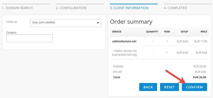 Confirm settings and place order