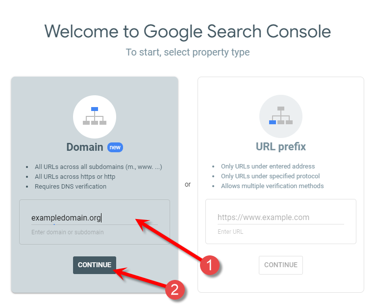 Add your domain with Google