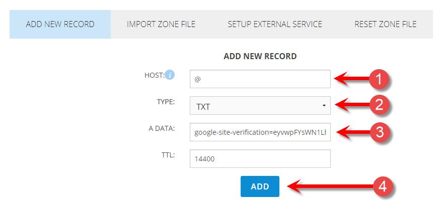 ADD TXT record to zone file