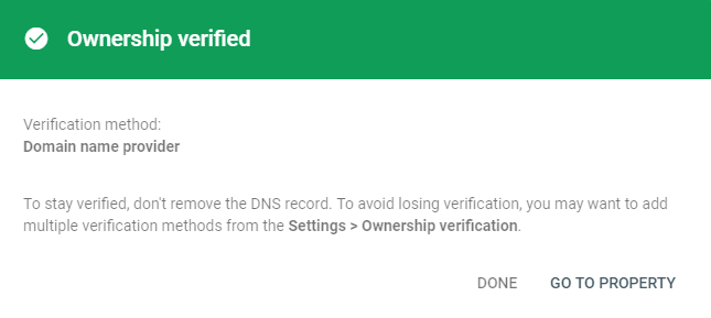 Ownership of domain verified