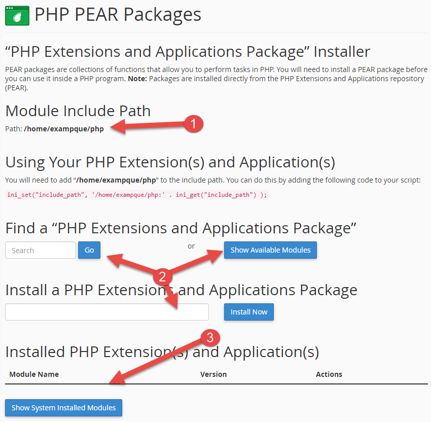 PEAR packages page in cPanel