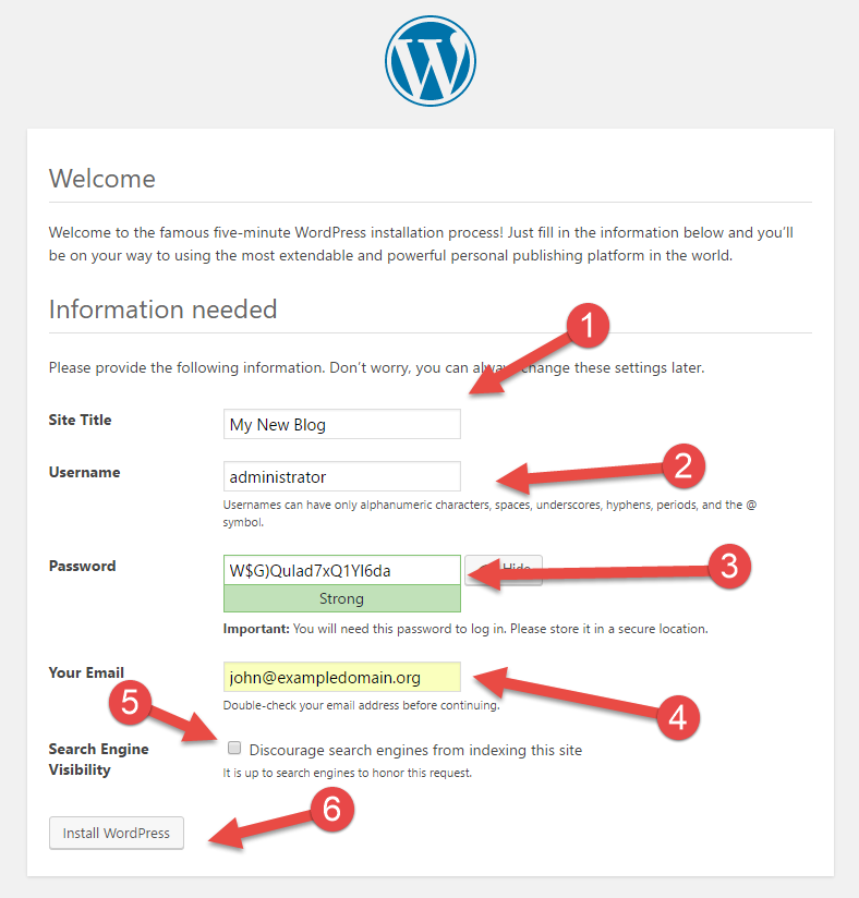 Page 1 of browser installation of Wordpress