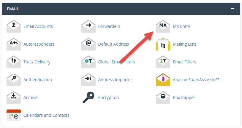 Click MX Entry icon in cPanel