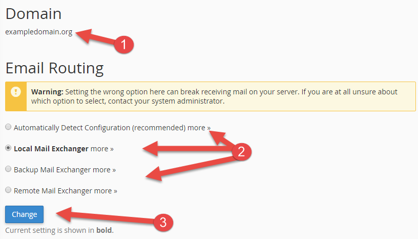 Choose how emails should be routed in cPanel