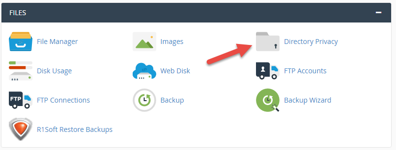 Click Directory privacy in cPanel