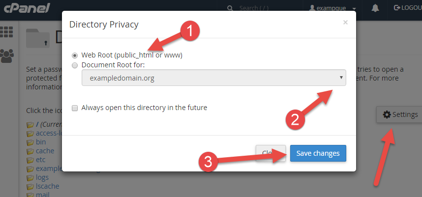 Configure password protection for folder in cPanel