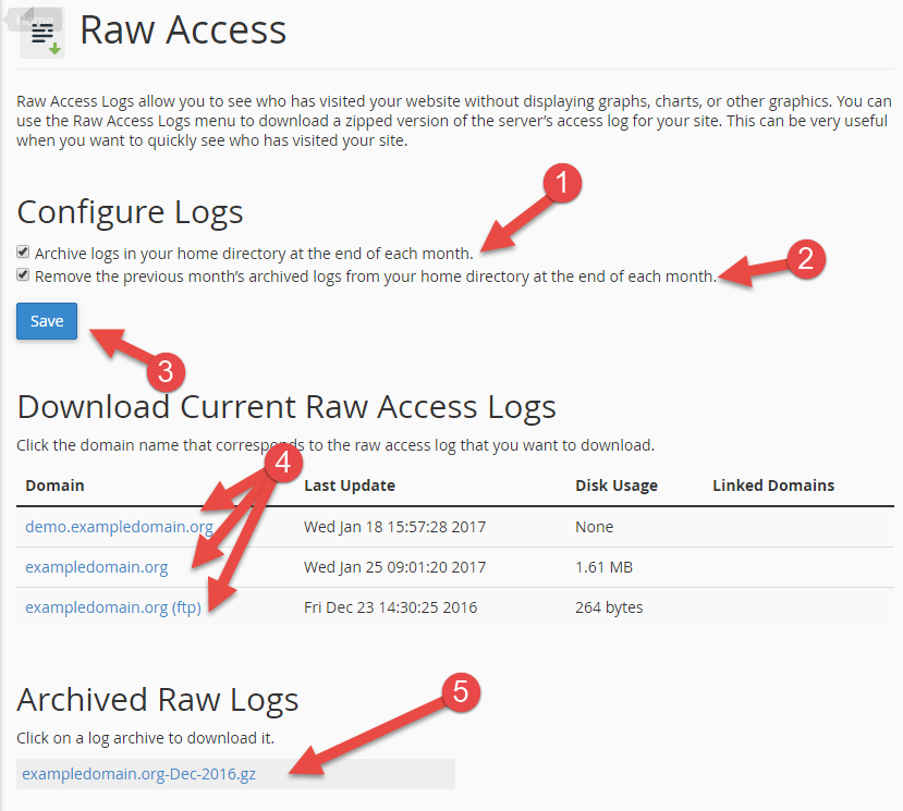 Configure raw and view raw access logs in cPanel