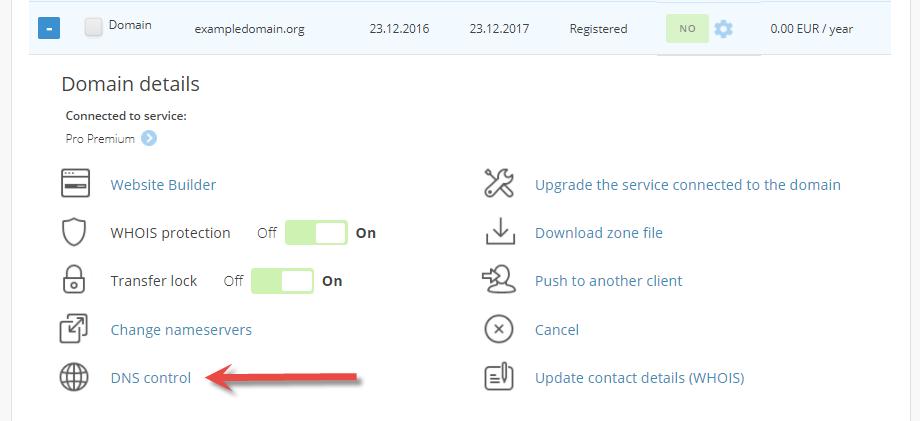 DNS control in the menu
