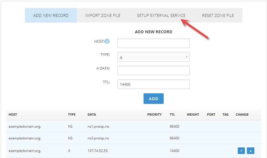 Setup external MX entry services