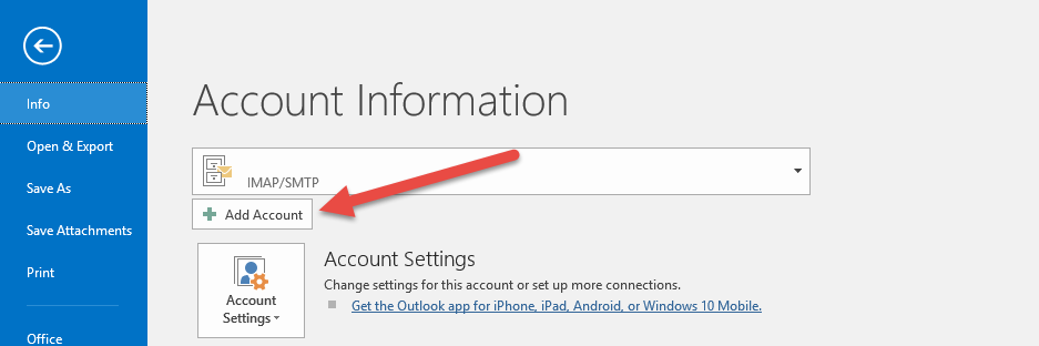 Add account for Outlook Office 365