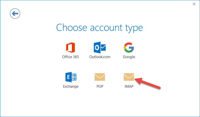 Choose IMAP for your email setup
