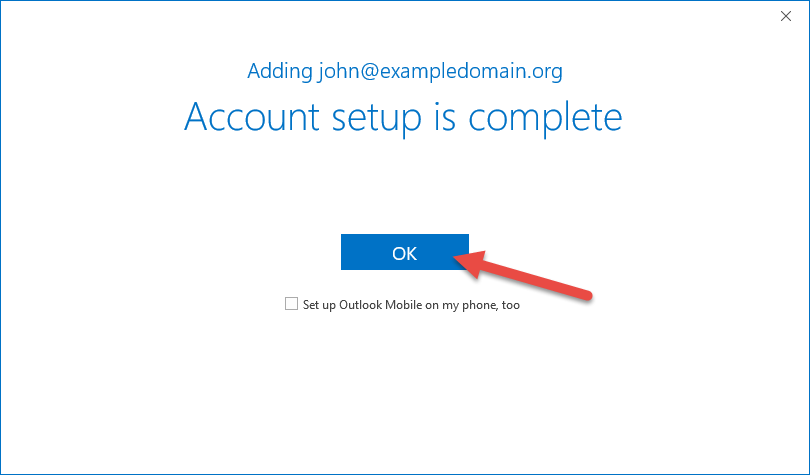 IMAP account setup completed