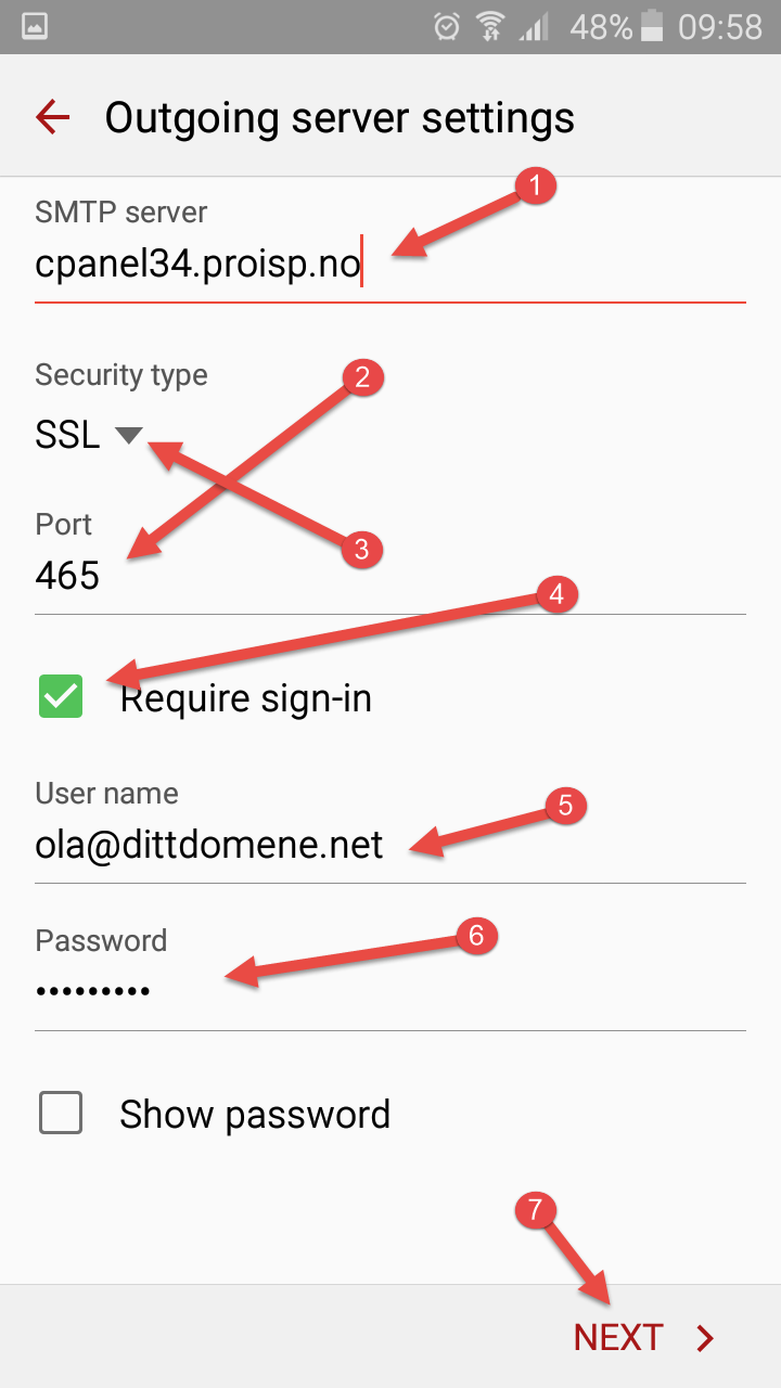 Outbound (SMTP) information in Android
