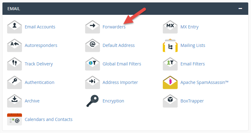 Select forwarding under Email on the dashboard