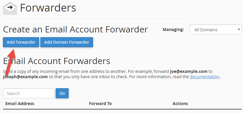 Add forwarding in order to set up an alias for email