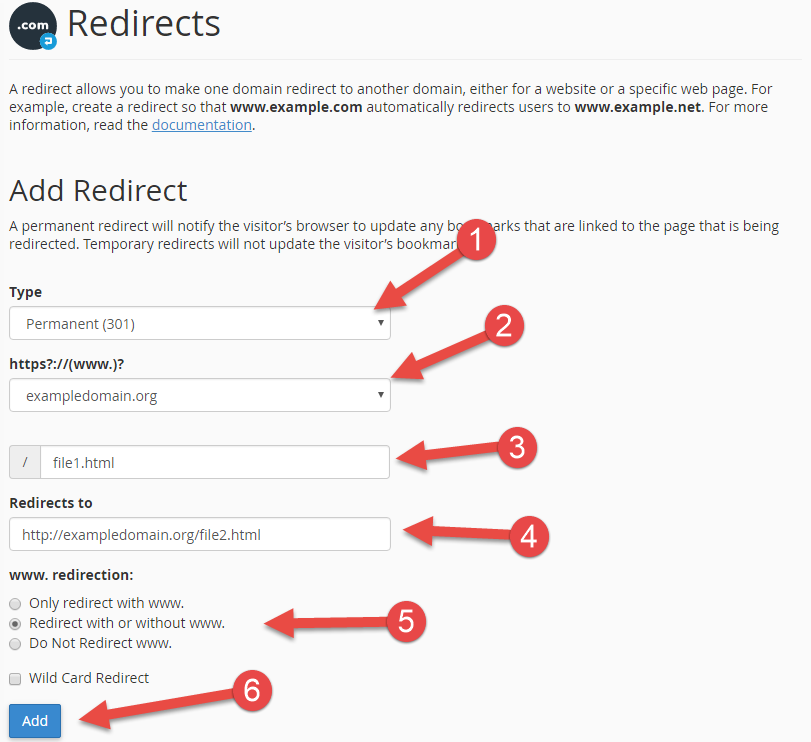 Create redirect in cPanel