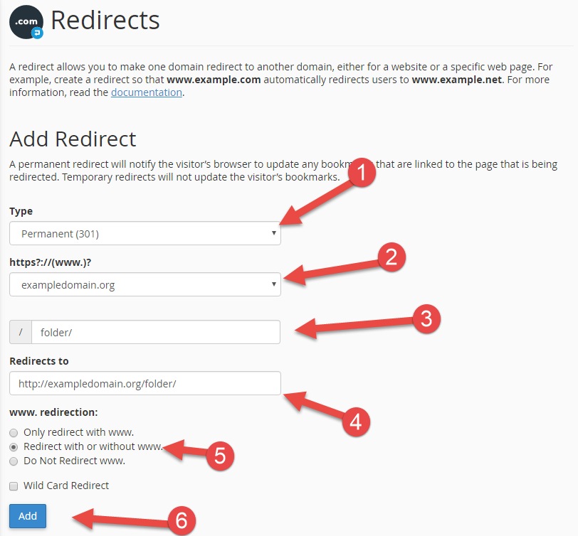 Add redirect of folder in cPanel