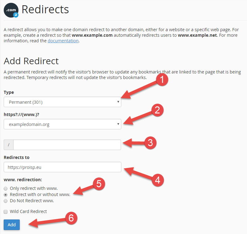 Redirect domain in cPanel