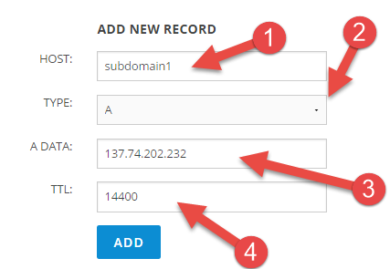 Add the values of the new DNS listing