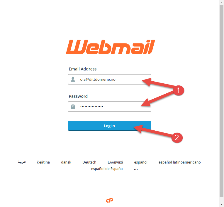 Enter user name/password for web mail