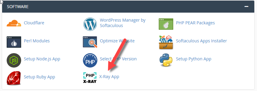 Find PHP X-Ray icon in cPanel